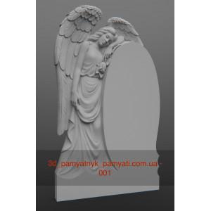 Купить резной памятник гранитный с ангелом #1 (120х70)