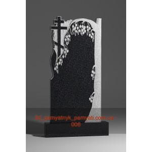 Купить резной памятник гранитный с плакучей березой и крестом (120х60)