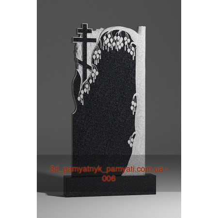 Резной памятник гранитный с плакучей березой и крестом (120х60)