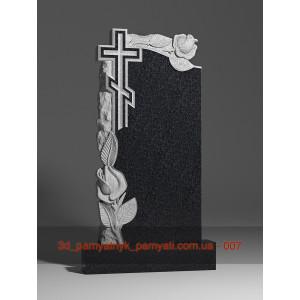 Купить резной памятник гранитный с розами скалой и крестом (120х60)