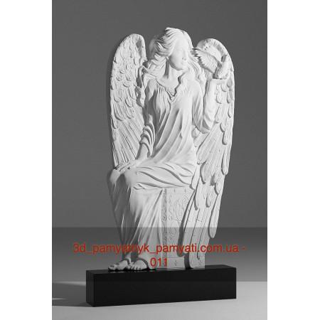 Резной памятник накладку барельеф Ангел расправил крылья (120х60)