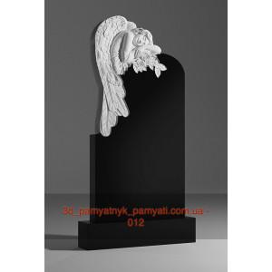 Купить резной памятник гранитный с ангелом и цветами (120х60)