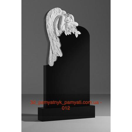 Резной памятник гранитный с ангелом и цветами (120х60)