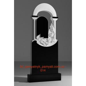 Купити різьблений пам'ятник гранітний з трояндами і аркою на колонах (120х60)