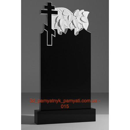 Резной памятник гранитный с восьмиконечным крестом (120х60)