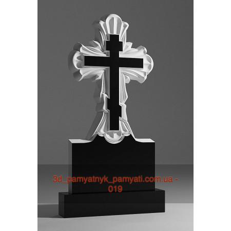Резной крест гранитный лучами (120х60)