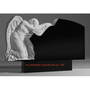 Купить резной памятник гранитный с ангелом на коленях (двойной)