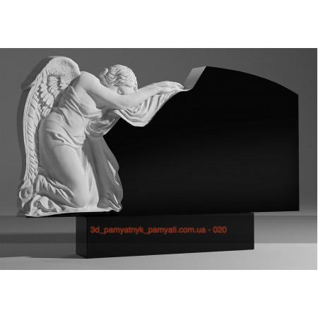Резной памятник гранитный с ангелом на коленях (двойной)