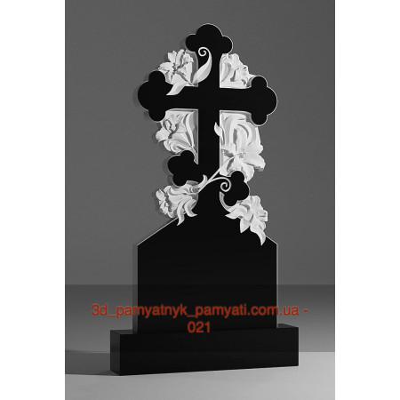 Резной гранитный крест плетущейся лилией (120х60)