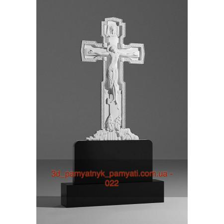 Резной памятник гранитный крест над холмом (120х60)
