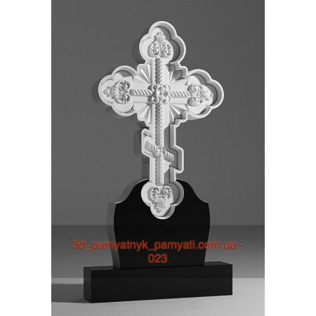 Резной крест гранитный фигурный с вязью (120х60)