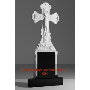 Купить резной крест гранитный распятием и подставкой с колонами (130х50)