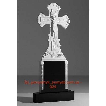 Резной крест гранитный распятием и подставкой с колонами (130х50)