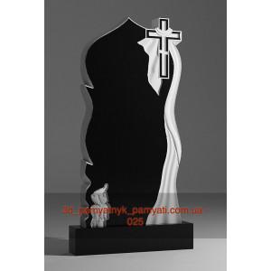 Купить резной памятник гранитный купол с крестом плащаницей и свечой (120х60)