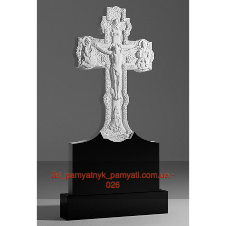 Резной крест гранитный с распятием и табличкой (120х60)