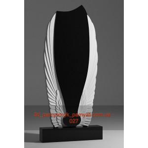 Купить резной памятник гранитный с крыльями ангела (120х60)