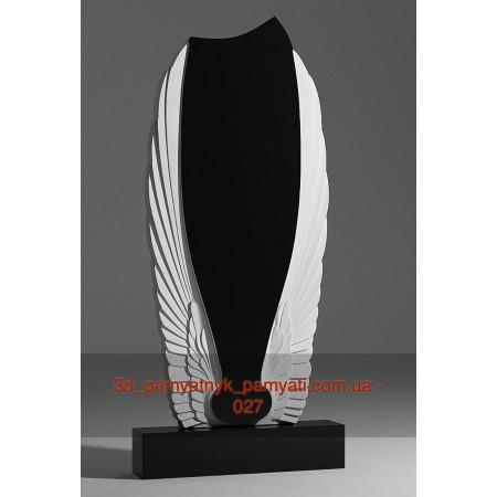 Резной памятник гранитный с крыльями ангела (120х60)