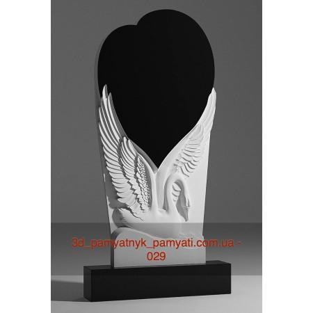 Резной памятник гранитный лебедь и сердце на крыльях (120х60)