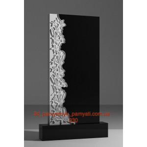 Купить резной памятник из гранита с лилиями (110х55)