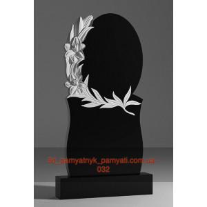 Купить резной памятник гранитный с лилией и овалом (120х60)