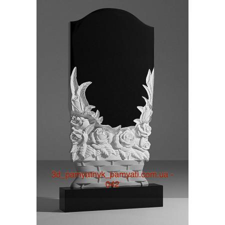 Резной памятник гранитный гранитный корзина из роз (120х60)