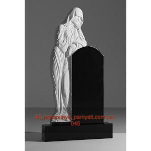 Купить резной памятник гранитный вдова оперлась на памятник (120х60)