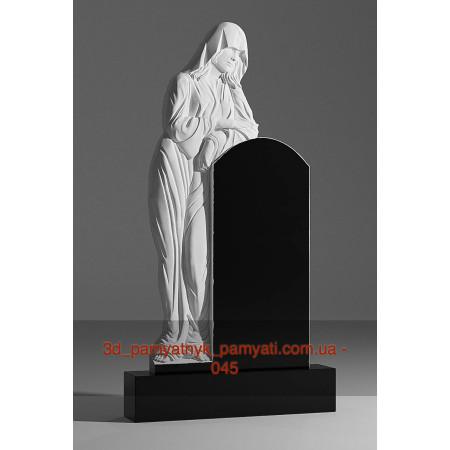 Резной памятник гранитный вдова оперлась на памятник (120х60)
