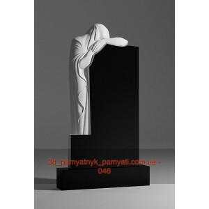 Купить резной памятник гранитный скорбящая мать стоит (120х60)