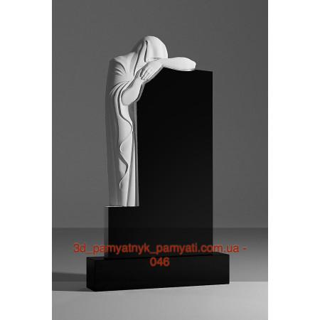 Резной памятник гранитный скорбящая мать стоит (120х60)