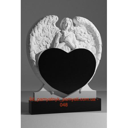 Резной памятник из гранита ангел распустил крылья над сердцем (двойной)