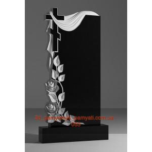 Купить резной памятник гранитный крест розы и плащаница (120х60)