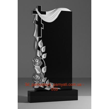 Резной памятник гранитный крест розы и плащаница (120х60)