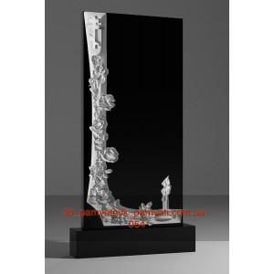 Купить памятник гранитный с розой и свечой (120х60)