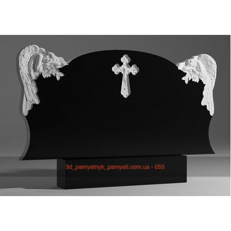Резной памятник из гранита два ангела с розами и крест (двойной)