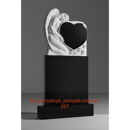Резной памятник гранитный ангел держит сердце на пьедестале (120х60)