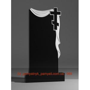 Купить резной памятник из гранита плащаница с крестом (120х60)