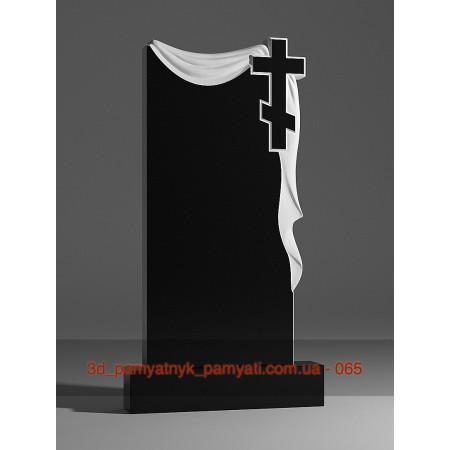 Резной памятник из гранита плащаница с крестом (120х60)