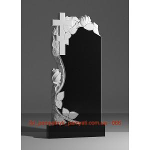 Купить резной памятник из гранита вьющаяся роза и крест (120х60)