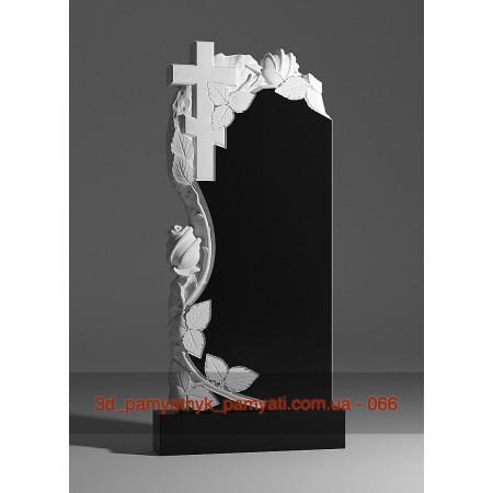 Резной памятник из гранита вьющаяся роза и крест (120х60)