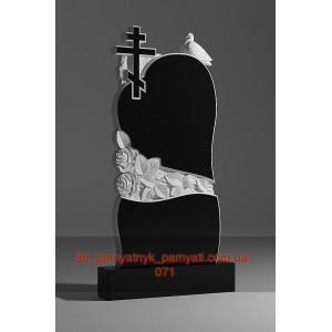 Купить резной памятник из гранита сердце с розами крестом и голубем (120х60)