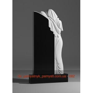 Купить резной памятник из гранита скорбящая мать стоит над могилой (120х60)