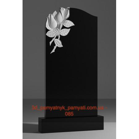 Резной памятник гранитный две розы на углу (120х60)
