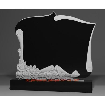 Резной памятник из гранита пергамент с букетом роз (двойной)