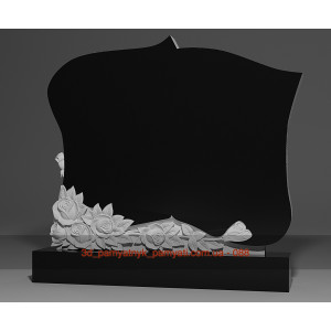 Купить резной памятник из гранита фигурный с букетом роз (двойной)