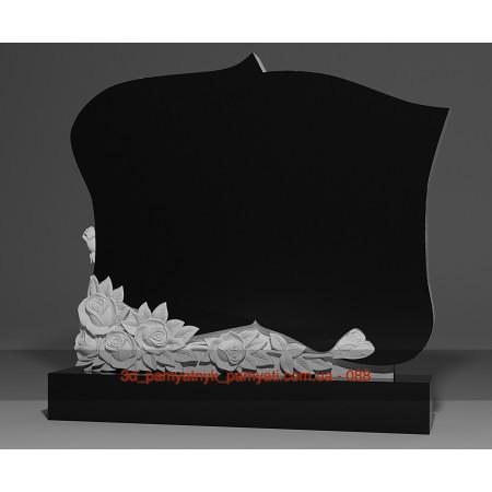 Резной памятник из гранита фигурный с букетом роз (двойной)