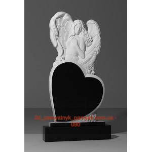Купить резной памятник гранитный ангел стоит над сердцем (120х60)