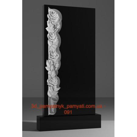 Резной памятник гранитный колонна из роз (120х60)