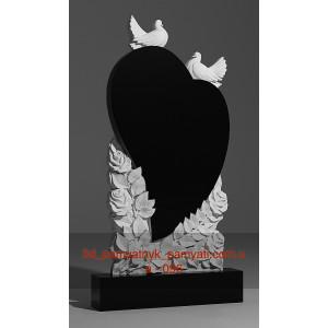 Купить резной памятник гранитный сердце на розах и голуби (120х60)