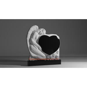 Купить резной памятник гранитный ангел обнял сердце (120х60)