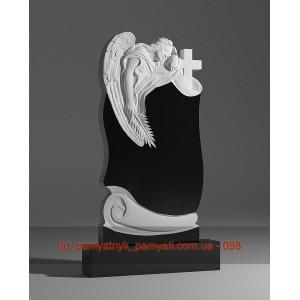 Купить резной памятник гранитный ангел склонился к кресту и пергамент